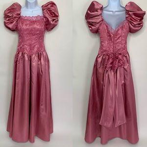 Dresses & Skirts - VTG 80's Pink Prom Dress Satin & Lace Floor Length